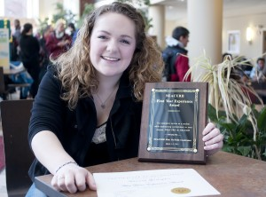 Hannah with her First Student of the Year Award alt