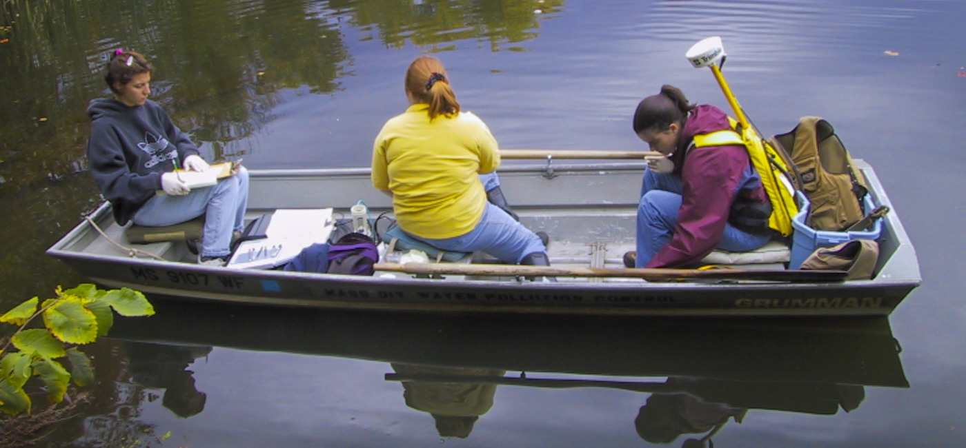 Environmental Engineering Students working on a boat