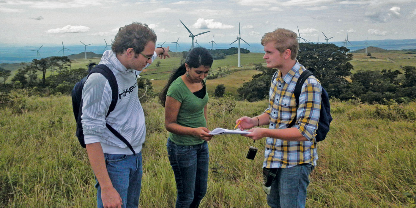 Students at project center with windmills in the background