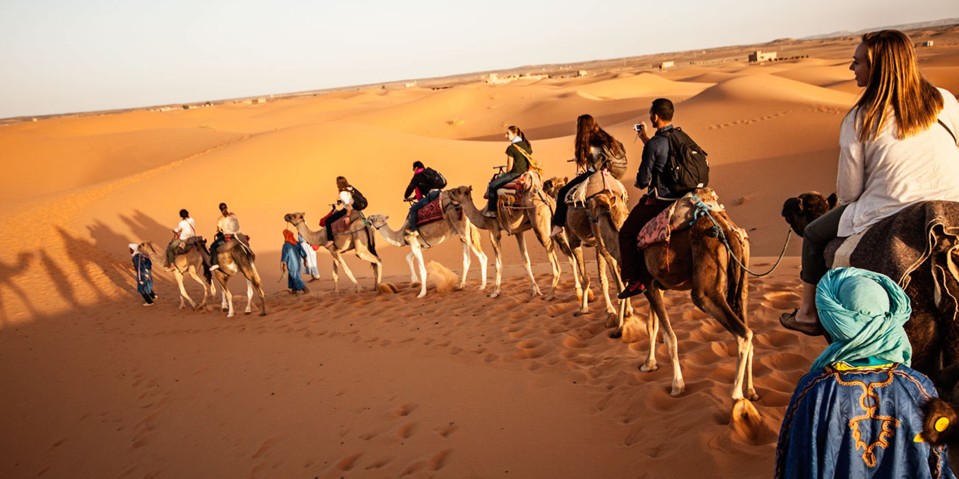Students crossing the desert on camels