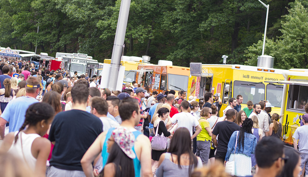 Worcester food trucks with large crowd