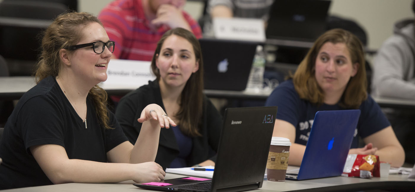 Undergraduate Business Students involved in a classroom discussion