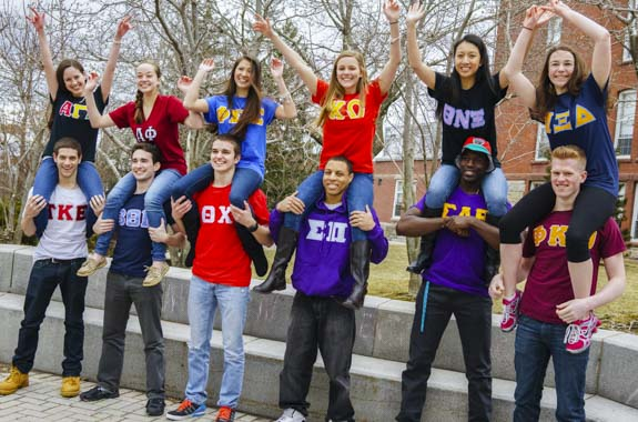 Men and women in Greek Life on campus