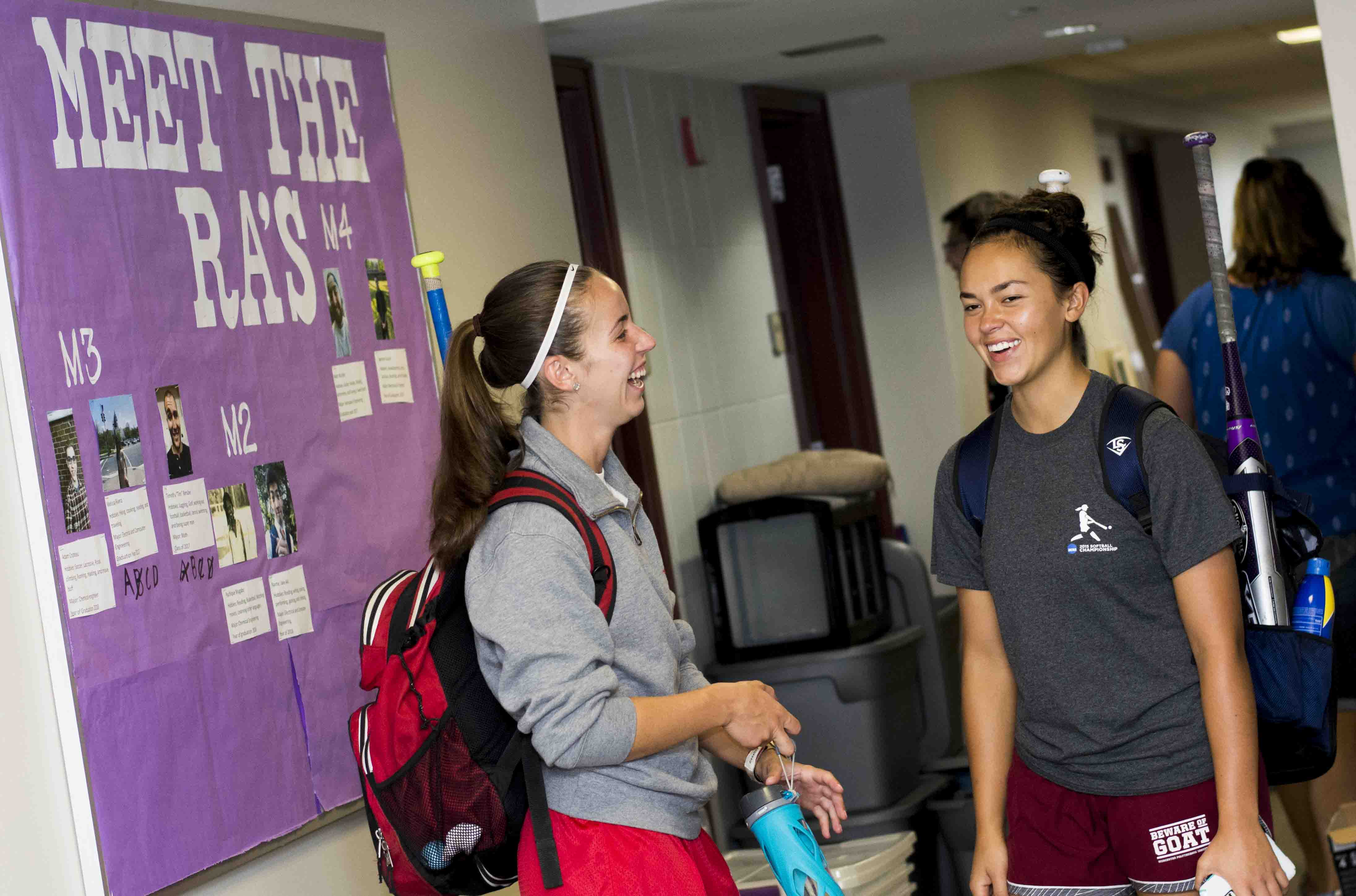 Female students talking in Morgan Residence Hall