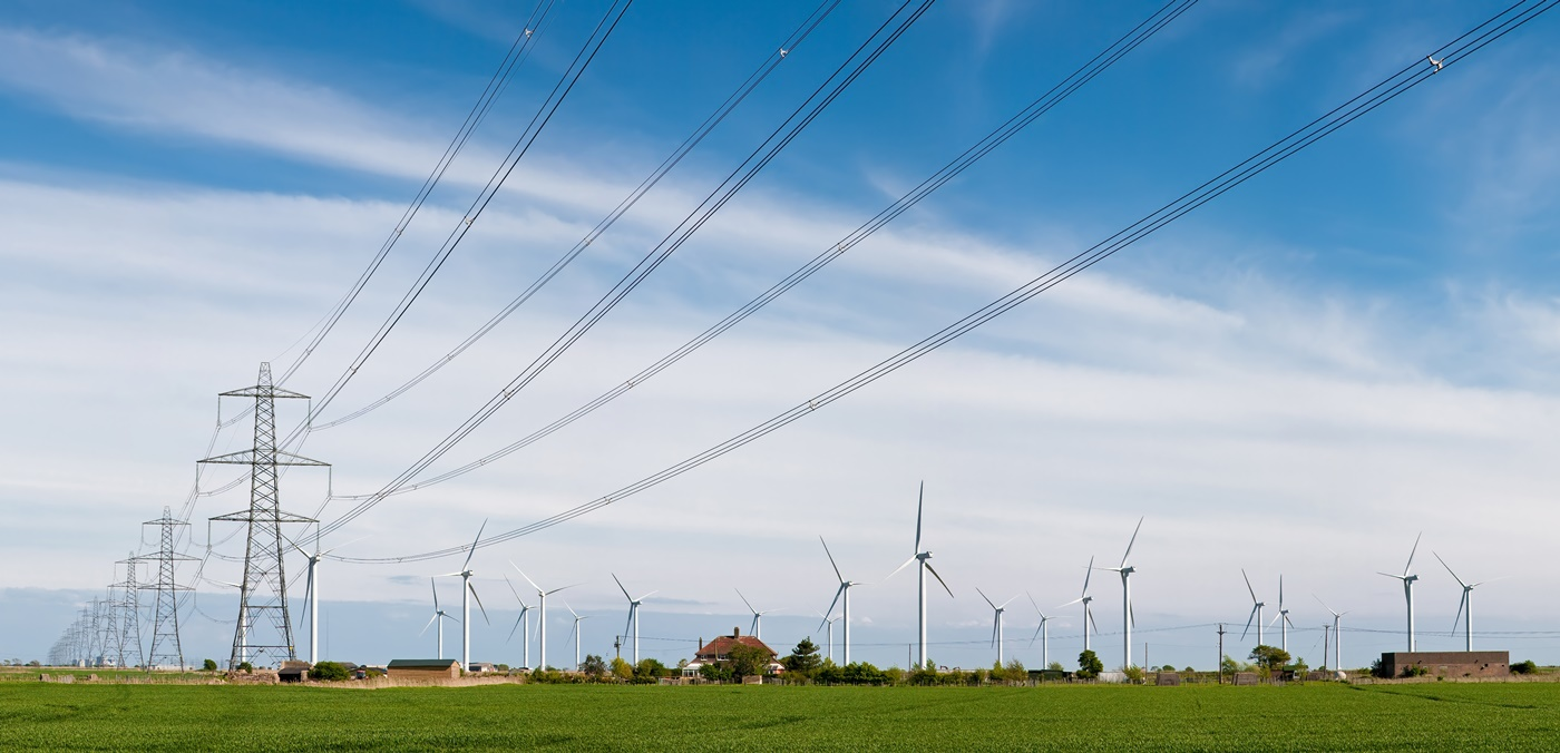 Power lines and windmills