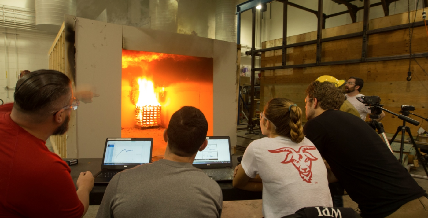 A fire test under the hood in the Performance Lab