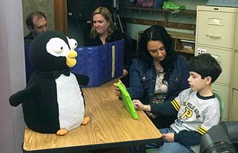 Penguine Robot with child