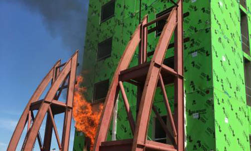 FPE fire test steel with fire.