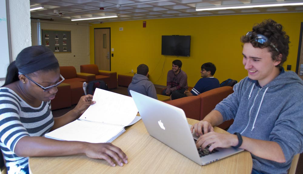 Students studying in the common area