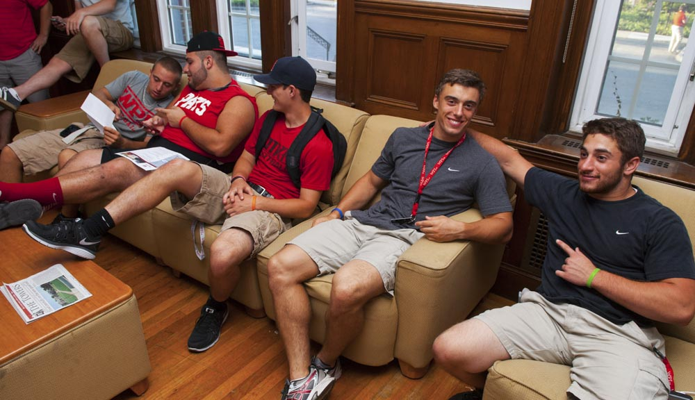Students hanging out in the common room