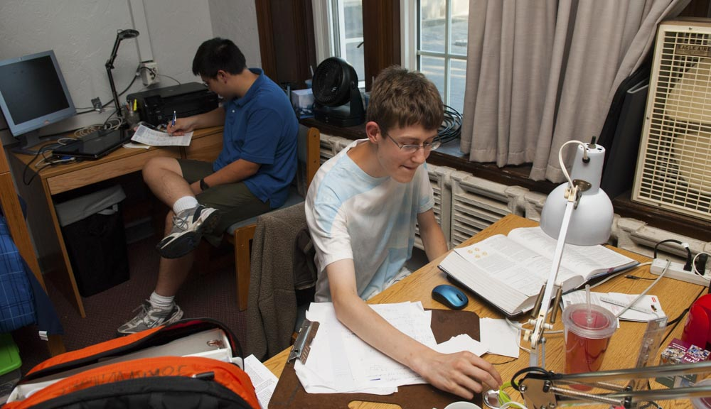 Students studying in the room