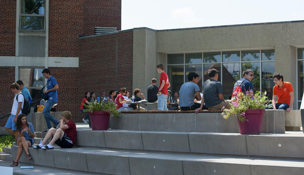 Students hanging out in front of morgan hall