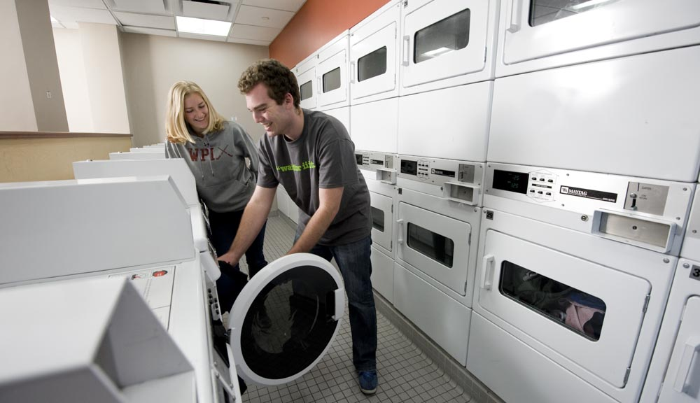 Students in the laundry room
