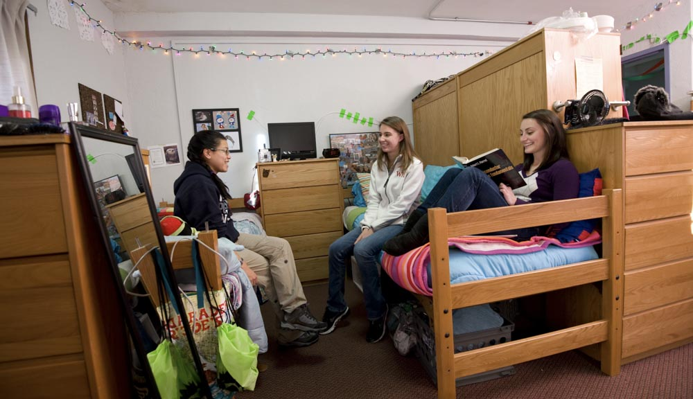 Students hanging out in the room