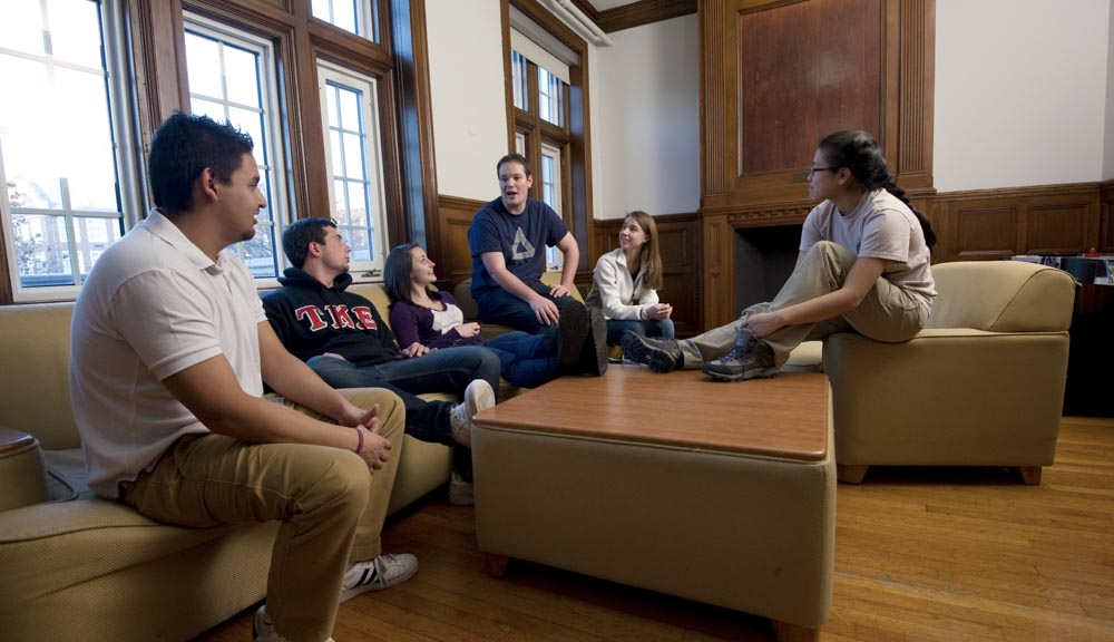 Students talking in the common room