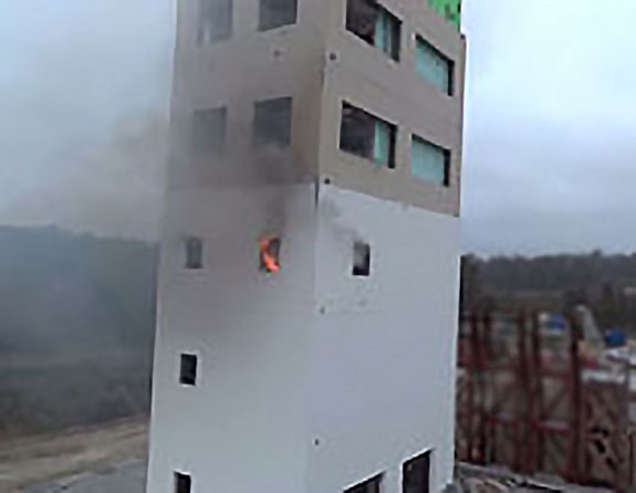 building on fire demonstration