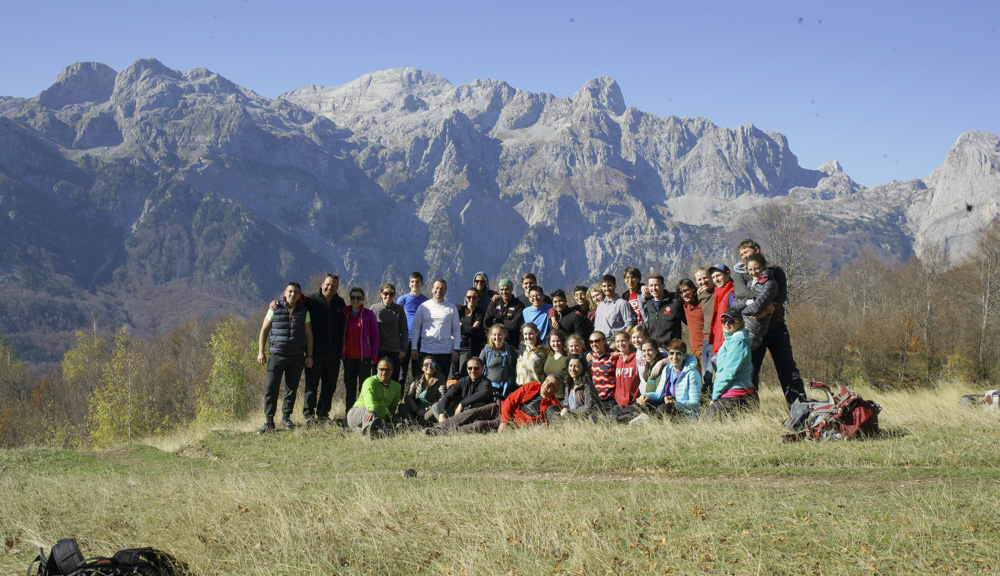 Group photo while in the beautiful mountain region of Valbona in northern Albania during a weekend expedition away from the city