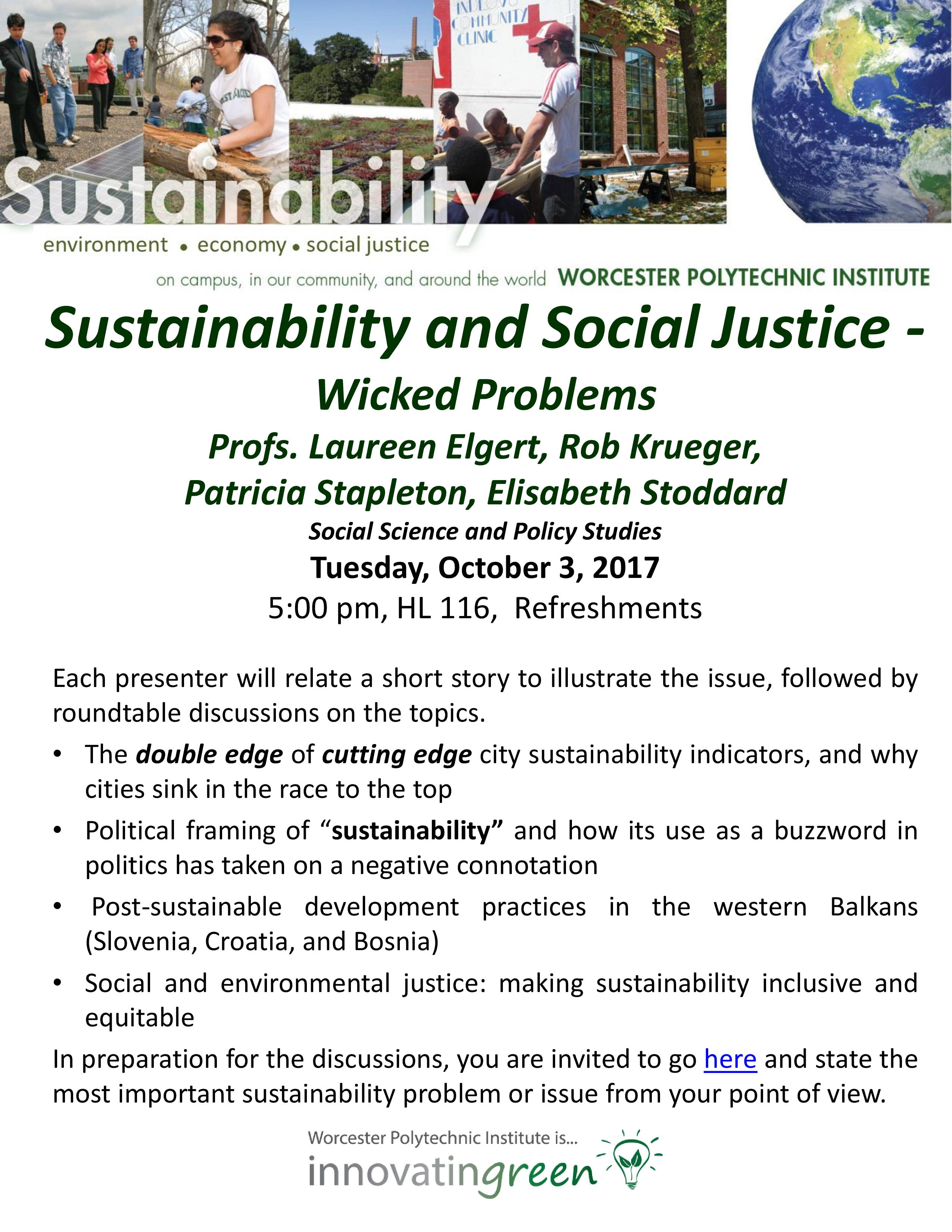 Sustainability Round Table Seminar Poster