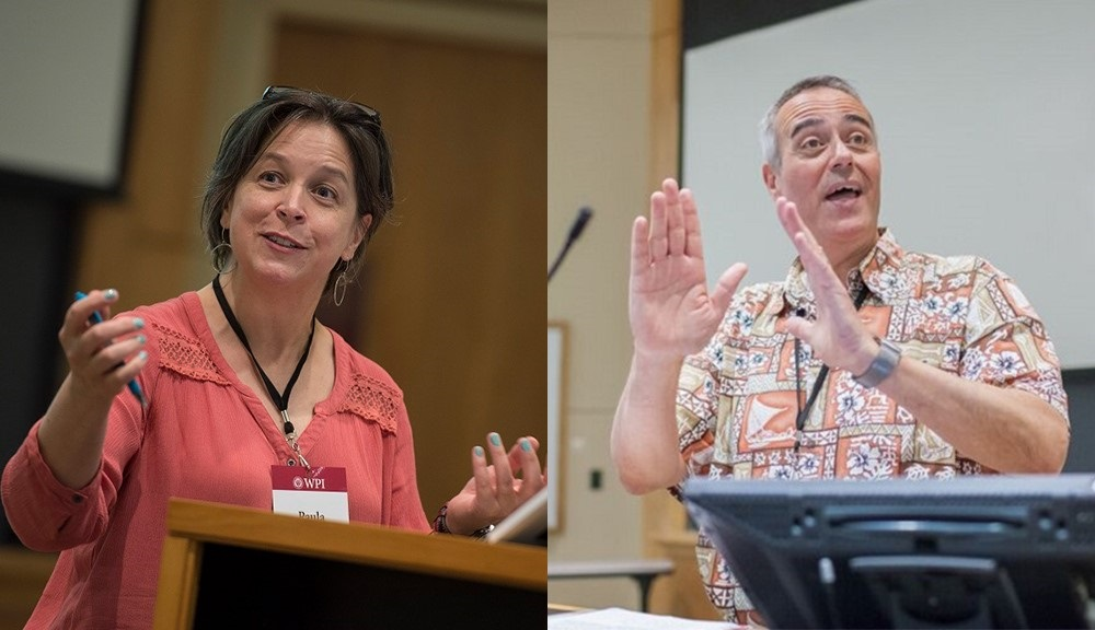 Two photos of Rick Vaz and Paula Quinn are side by side, each in the middle of discussing project-based learning.