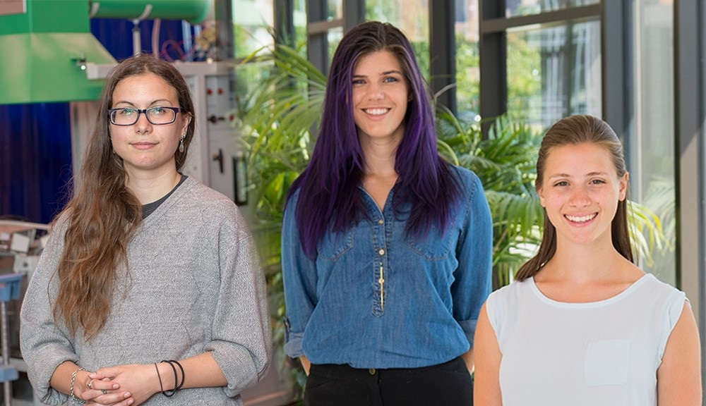 Two photos of the Presidential Fellows have been combined to show Veronica Kimmerly, Alexandra Valiton, and Dayna Mercadante.