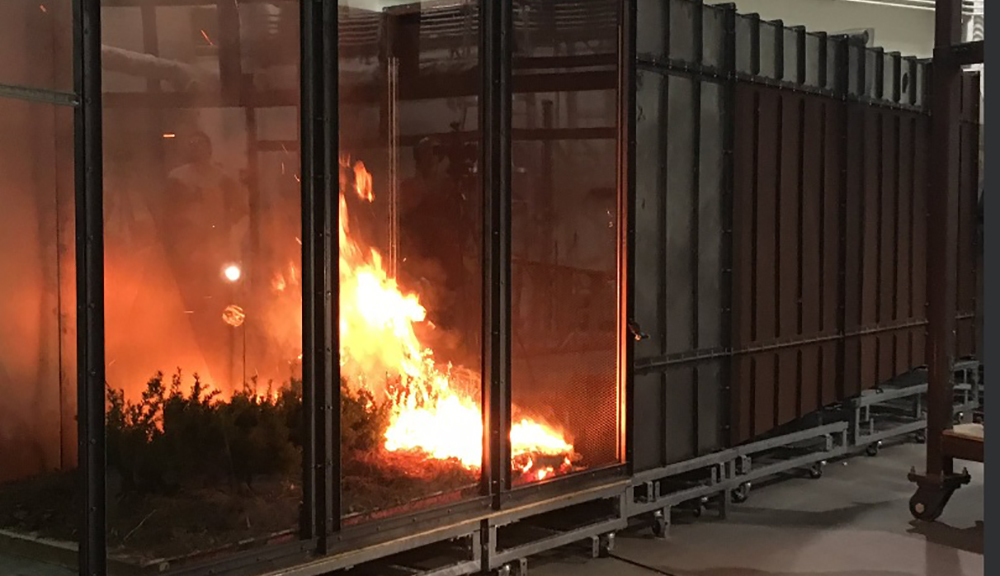Brush in the wind tunnel at WPI's Fire Lab burns. The brush is on the left-hand side of the photo, with the rest of the wind tunnel in the background.