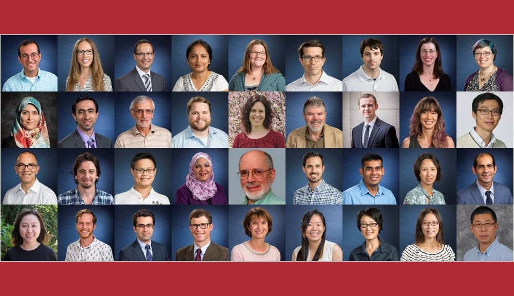 A composite image showing 36 of the 38 new full-time faculty members in a grid nine images wide by four images tall