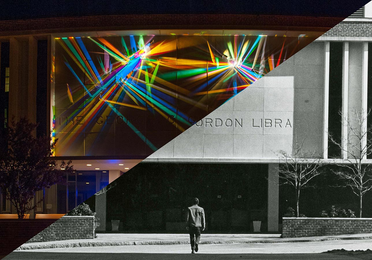 Front of Gordon Library with light painting