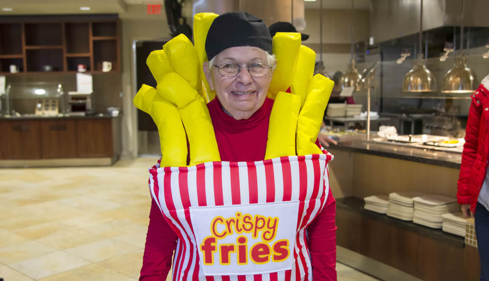 WPI employee wearing french fries costume.