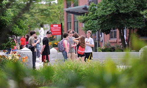 Frontiers students on the WPI Campus.