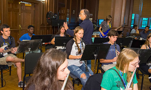 Students playing music at the Humanities & Arts Frontier Camp.