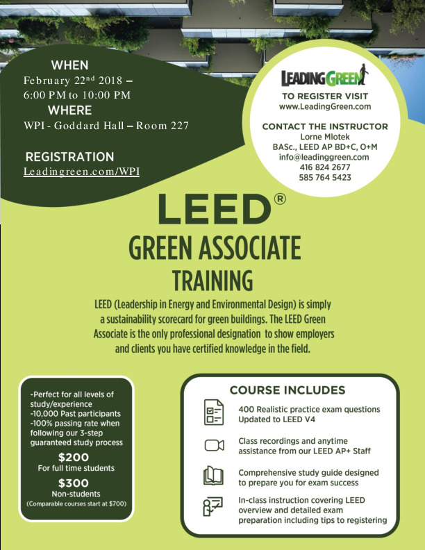Leed Green Associate Ga Training Events Calendar News Wpi