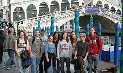 Students at a bridge.