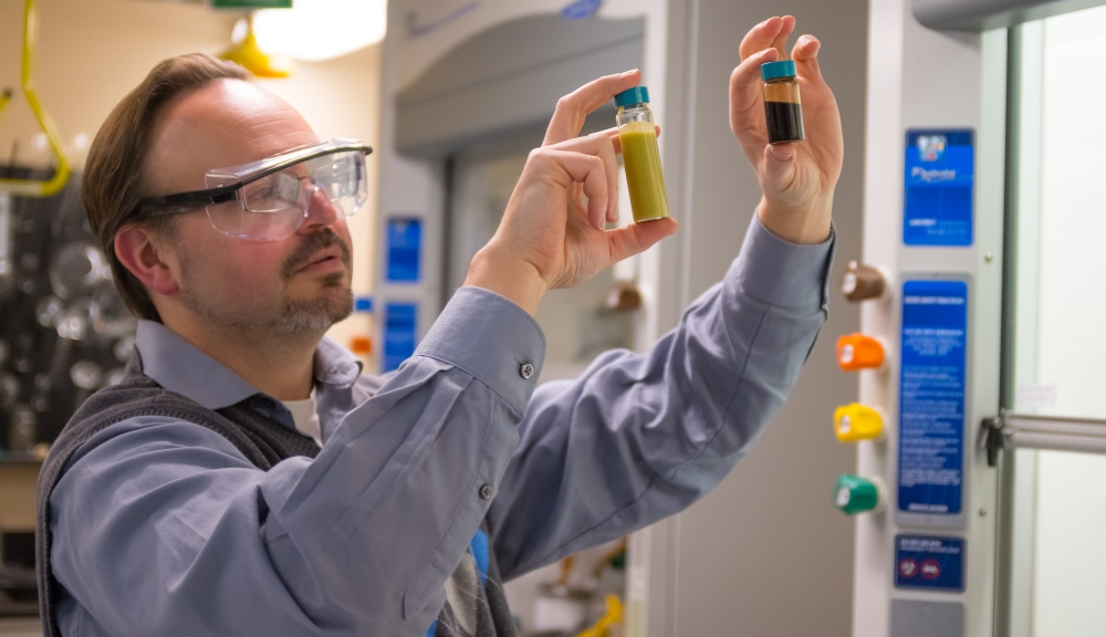 Professor Timko holds up and examines two vials, a large one on the left containing a yellowish liquid and a smaller on on the right containing a dark brown liquid