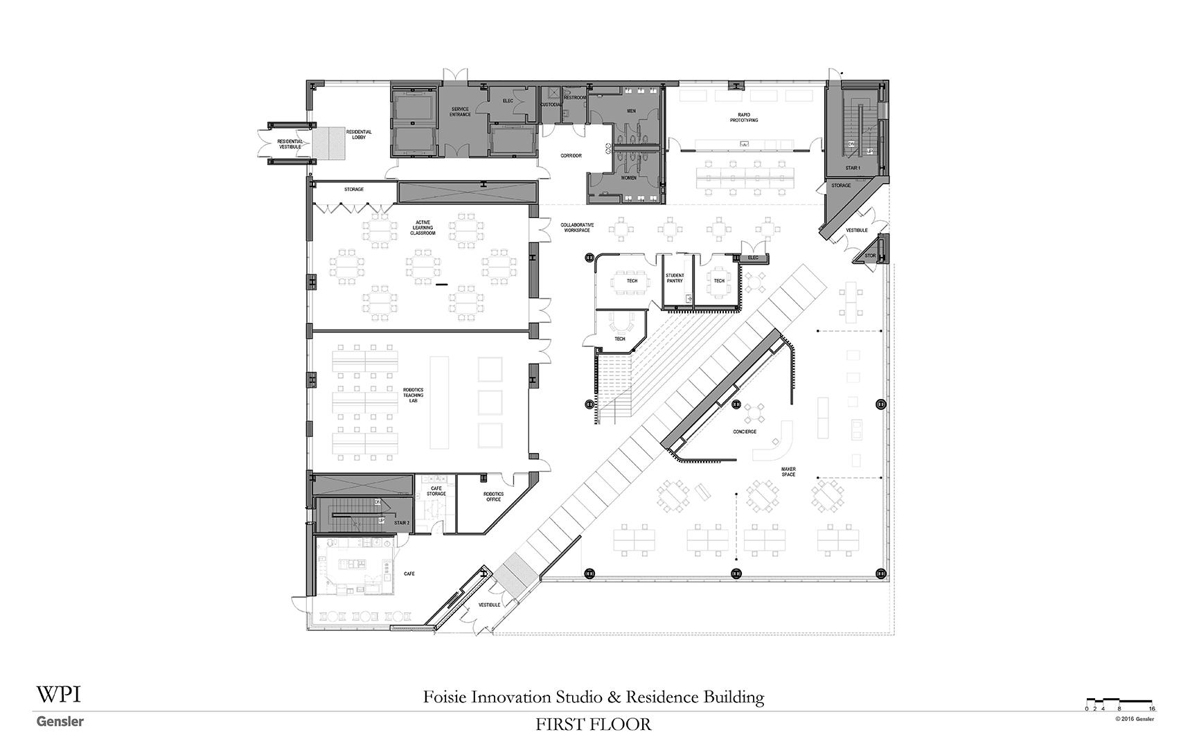 Floor plans for 1st floor of Foisie Innovation Studio