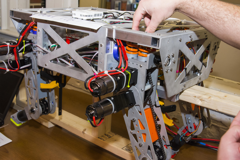 A close-up shot of a student's robotics work.