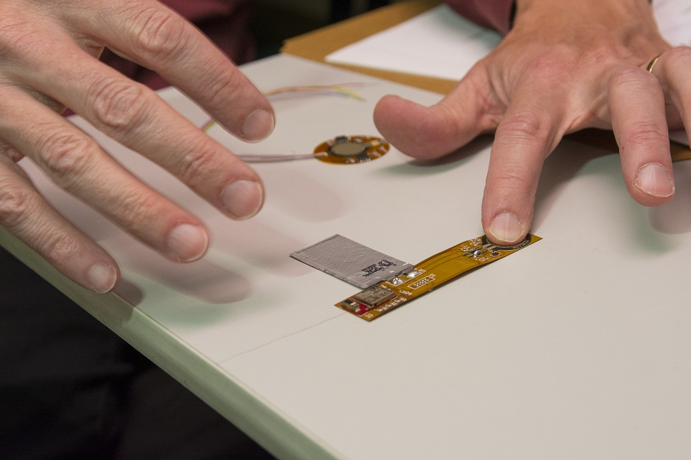 A wearable wireless sensor, which will help prevent pressure ulcers (bedsores), by John McNeil, head of the Department of Electrical and Computer Engineering