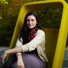WPI alumna in chair