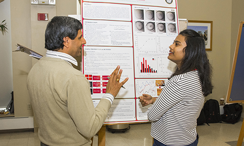 A student with a faculty member looking at a poster during GRIE.