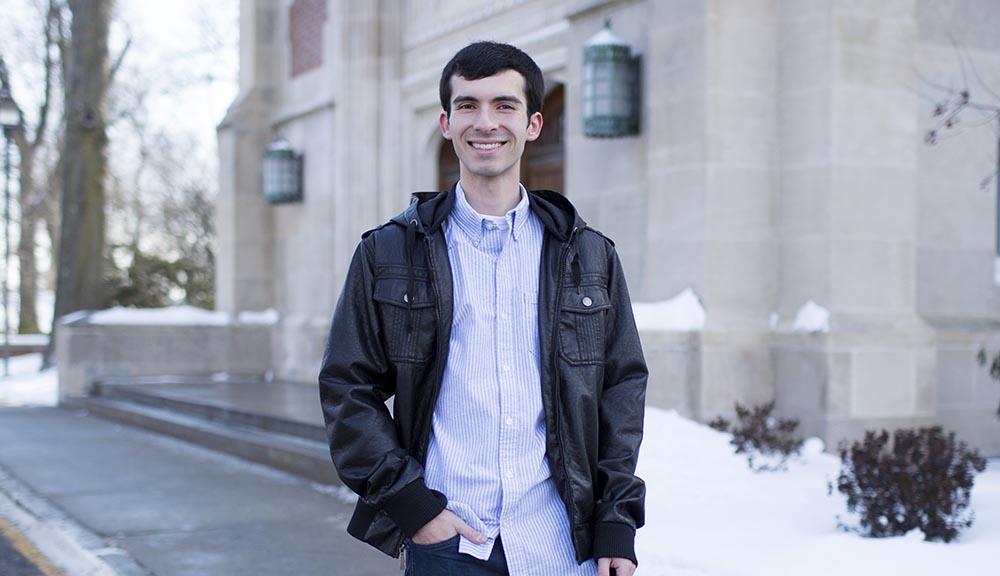 WPI student outside in winter