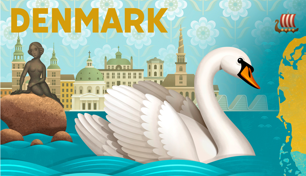 Illustration for Denmark with large swan in the center and city landscape in the background