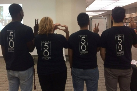 Students wearing GL 50 shirts