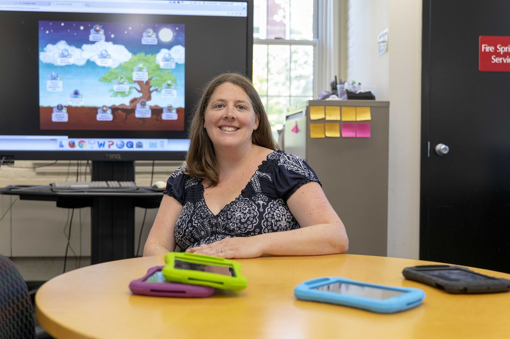 Erin Ottmar, assistant professor of psychology and learning sciences, is developing a game and an app to help students learn algebra and math problem-solving more easily, and to help teachers use tech to more effectively teach students.