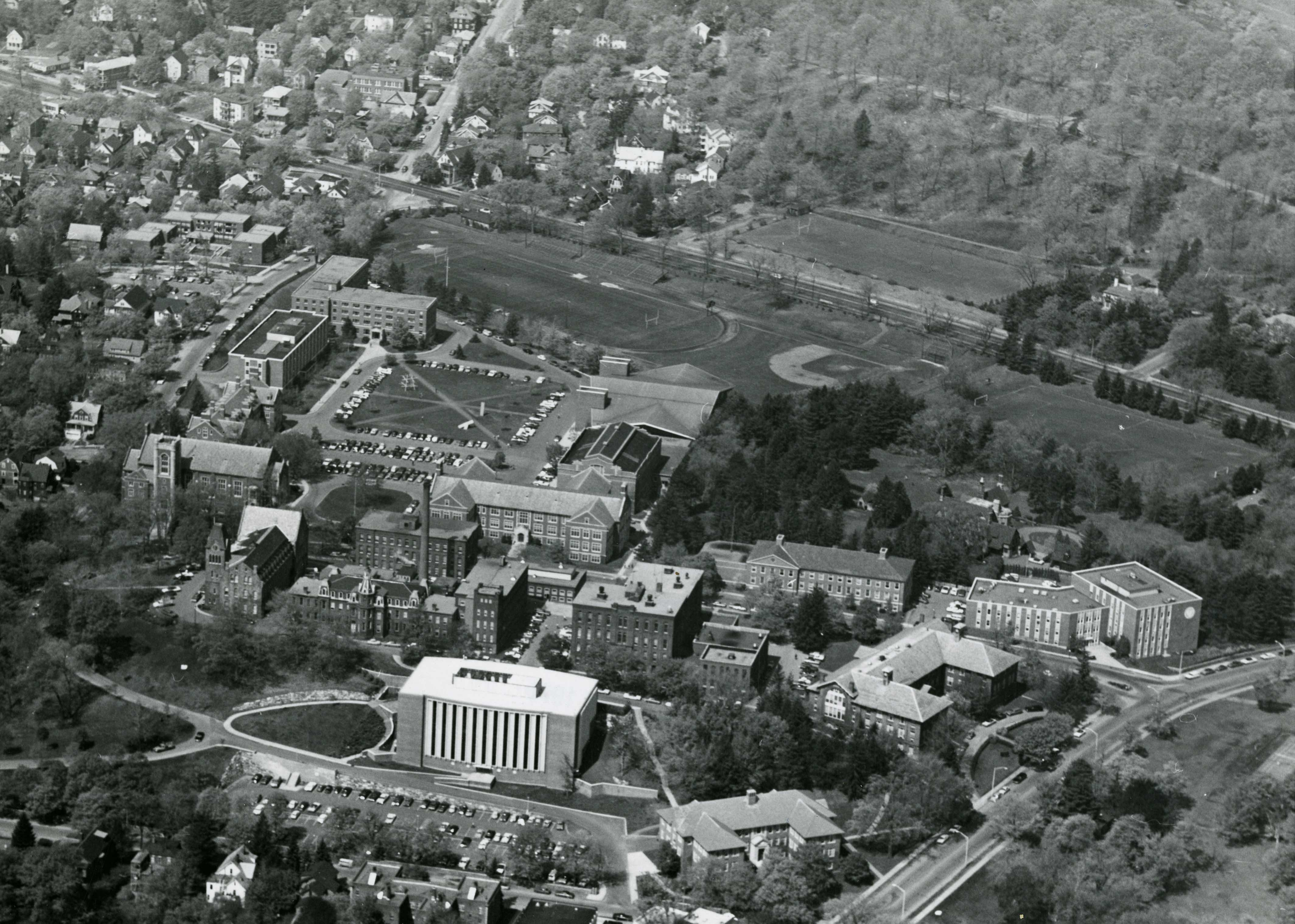 aerial view of WPI campus
