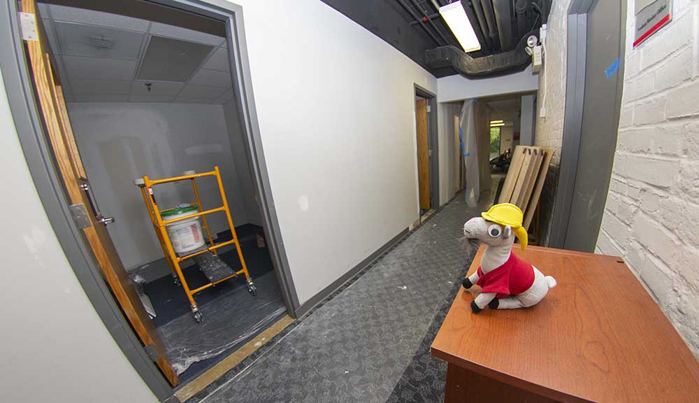 A stuffed animal version of Gompei wearing a hard hat looks on in a construction area in the Career Development Center.