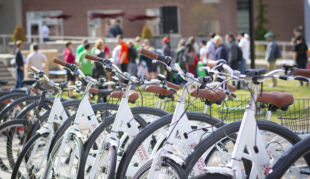 A close-up of a line of white bikes from the Gompei's Gears program.