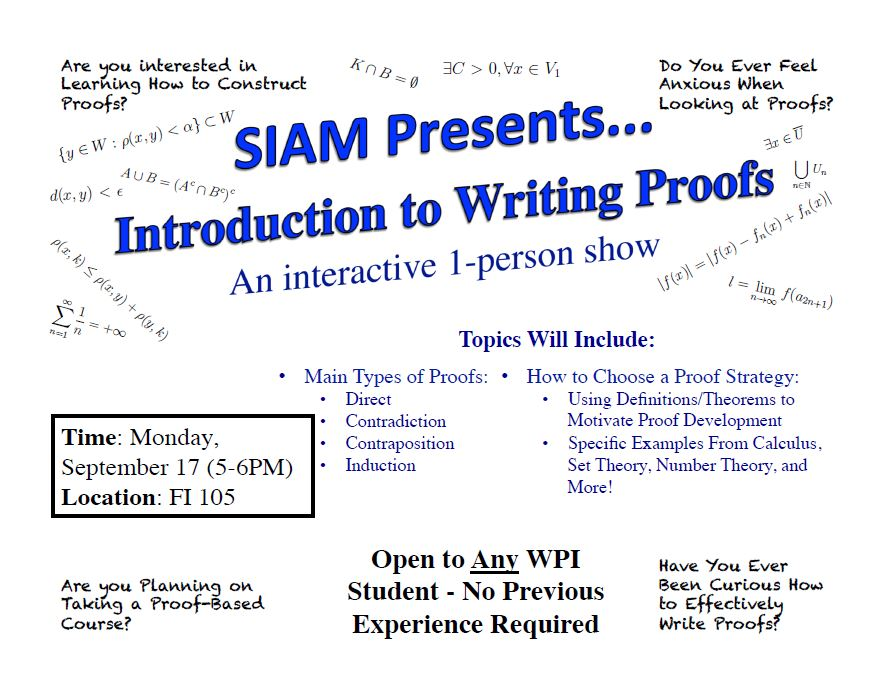 SIAM Presents Introduction to Writing Proofs