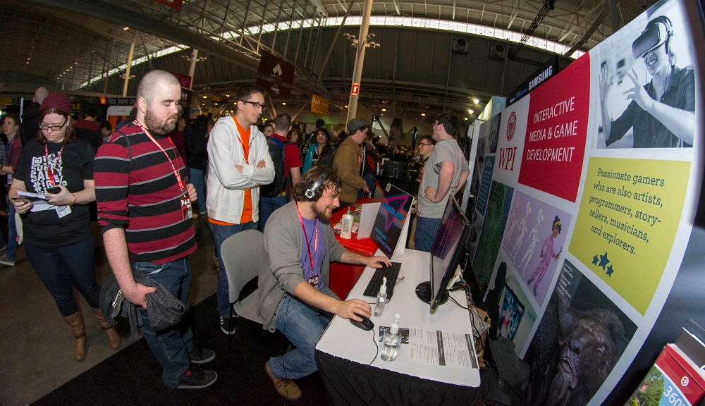student gaming at event fair