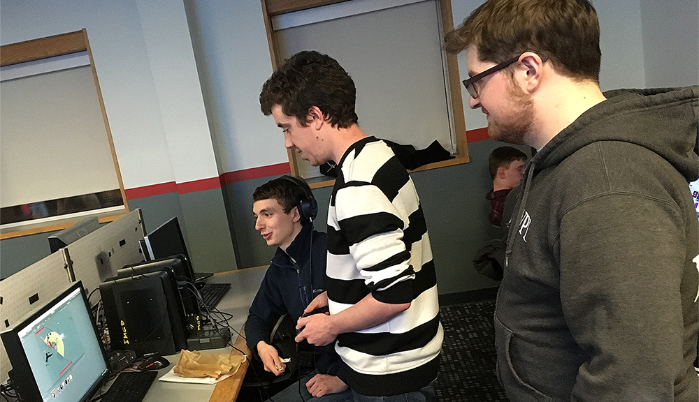 Students playing game they made