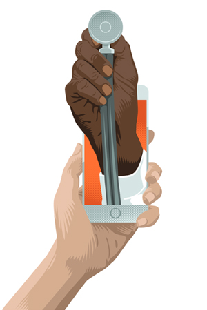 Stethoscope emerging from phone illustration