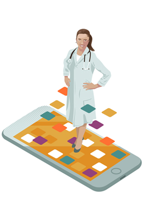 Doctor illustration with phone